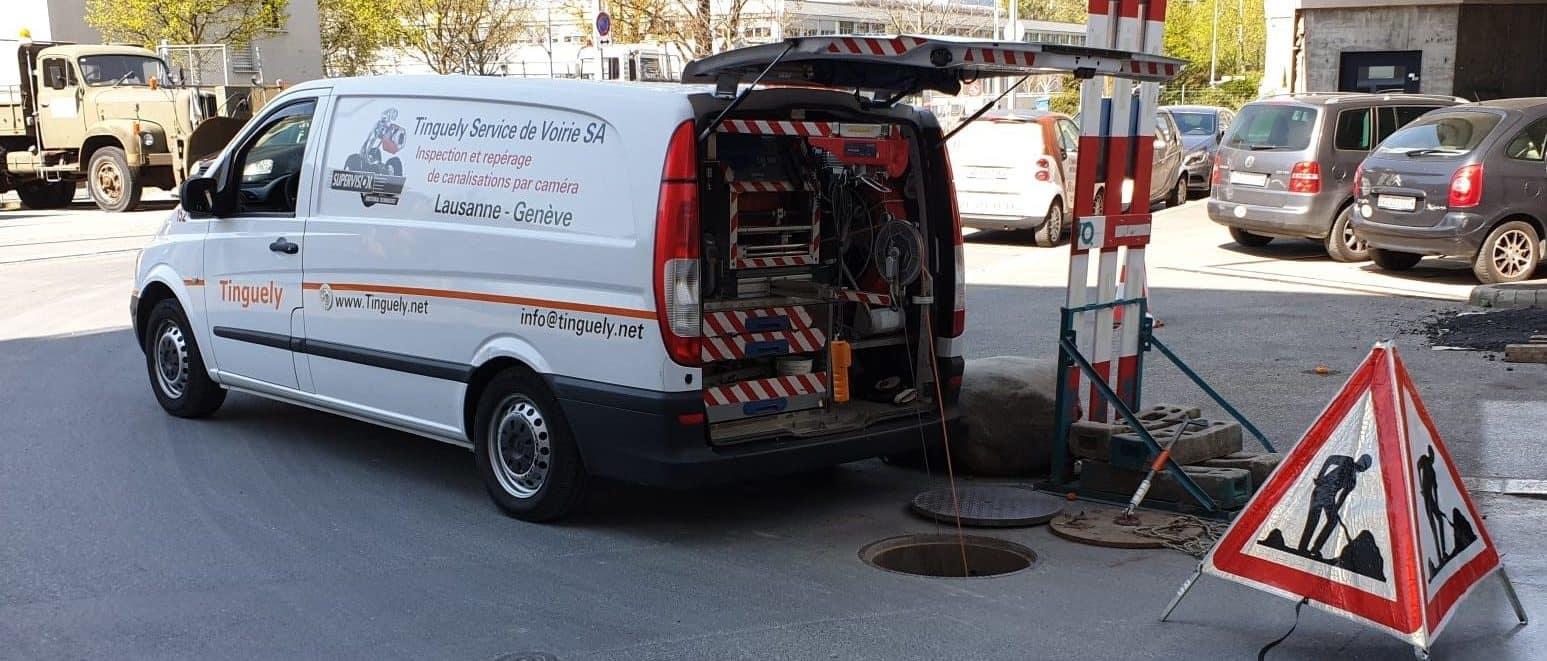 Intervention de contrôle caméra dans les canalisations en Suisse par Tinguely